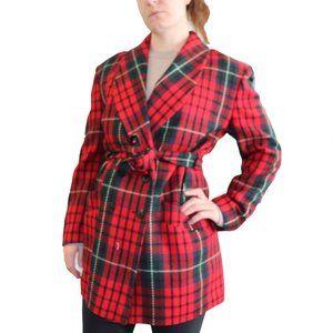 Vintage Red Tartan Plaid Blazer Style Jacket